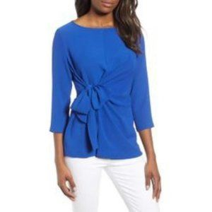 Gibson Royal Blue Front Tie Blouse
